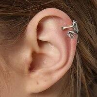 2021 gothic punk frog ear cuffs for women men animal clip earrings 1pcs ear stud clip wrap alloy jewelry gift