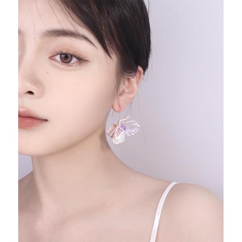 YMH reiki floating Austrian crystal transparent flower French earrings