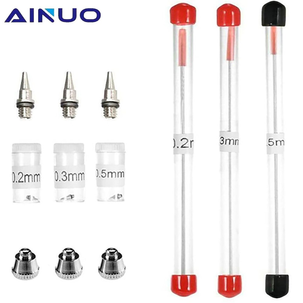 AliExpress - 0.2/0.3/0.5mm Airbrush Nozzle Needle Airbrushes Spray Gun Spraying Paint Sprayer & Brush Replacement Parts Tool Set Accessories