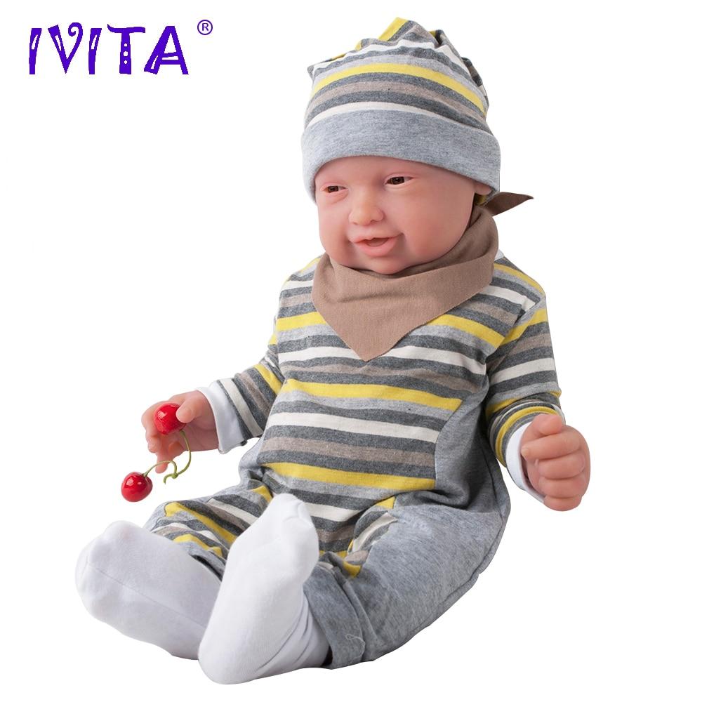 Ivita wg1513 59cm 5210g silicone original reborn bebês realista menina olhos castanhos macio bonecas do bebê lifelike crianças brinquedos juguetes