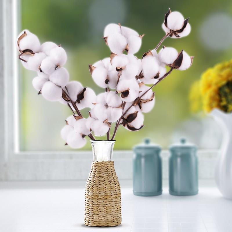 Tallos de algodón de secado natural, relleno de flores artificiales para hogar, decoración Floral, guirnalda de algodón de flores falsas, decoración para hogar o boda