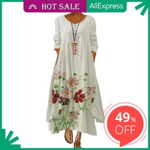 2021 Elegant Flowers Print Long Sleeve Spring Summer Dresses Casual O Neck Loose Women Dress Vintage