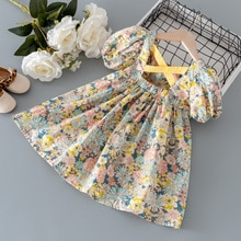 2021 Summer Baby Girl Dress Toddler Girls Clothes Print Floral Princess Birthday Dresses For Girls C
