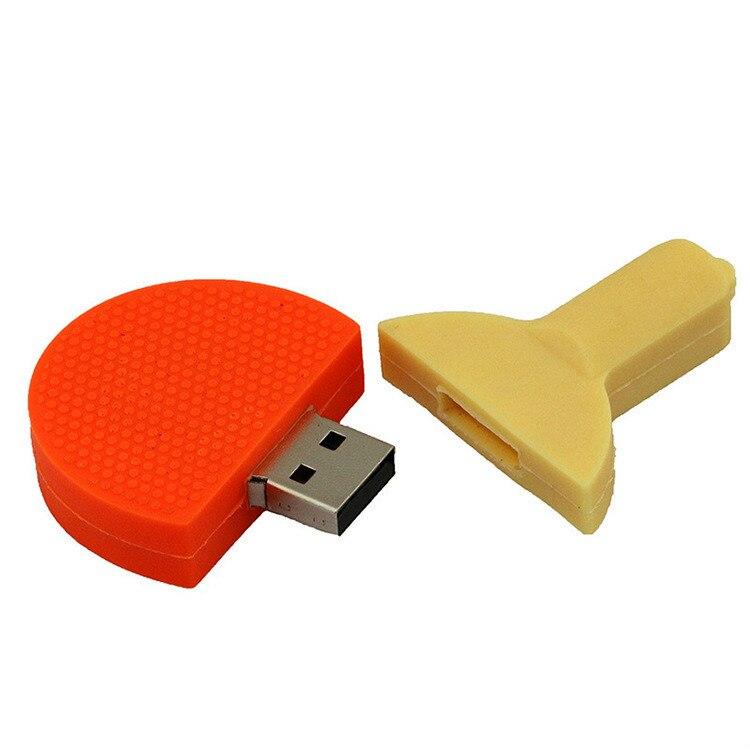 Venta al por mayor de raqueta de tenis de mesa de dibujos animados, disco USB para publicidad de fitness, equipo deportivo, Bola de disco USB, regalo de negocios 8g