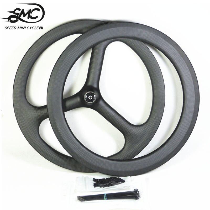 Brompton roda de carbono de 6 velocidades 16 polegadas 349 tri-spoke bicicleta rodado dianteiro estilo traseiro aro de carbono 3 raios