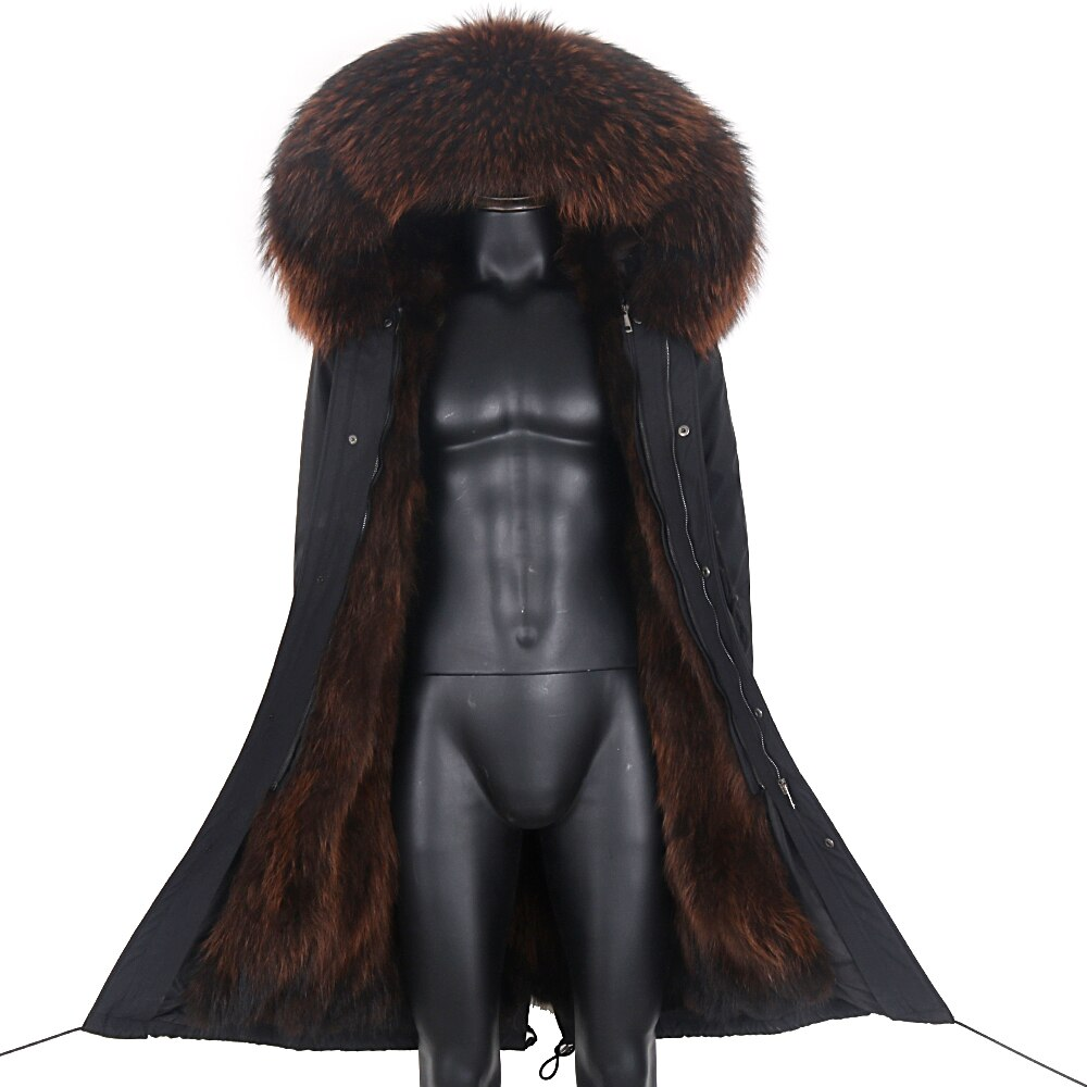 2021 جاكت شتوي رجالي X-Long جاكت فرو سميك دافئ معطف رجالي ثعلب طبيعي فرو سترة معطف مضاد للمياه ملابس خارجية