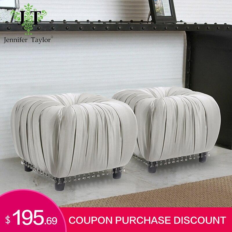 Jennifer Taylor muebles para el hogar taburete gris taburete otomano botón Gracie plisado decorativo pedernal sala de estar dormitorio