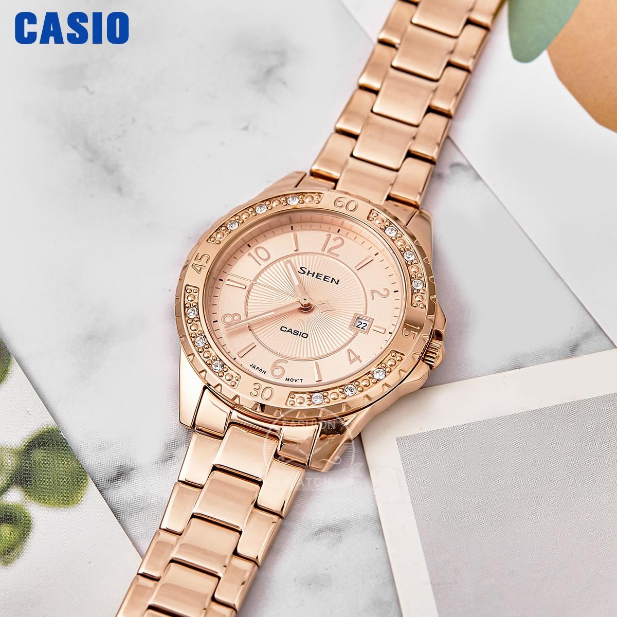 Casio watch ladies luxury  Swarovski diamond sapphire glass Rose women watch girl  watch 50m waterproof quartz relogio SHE4532PG