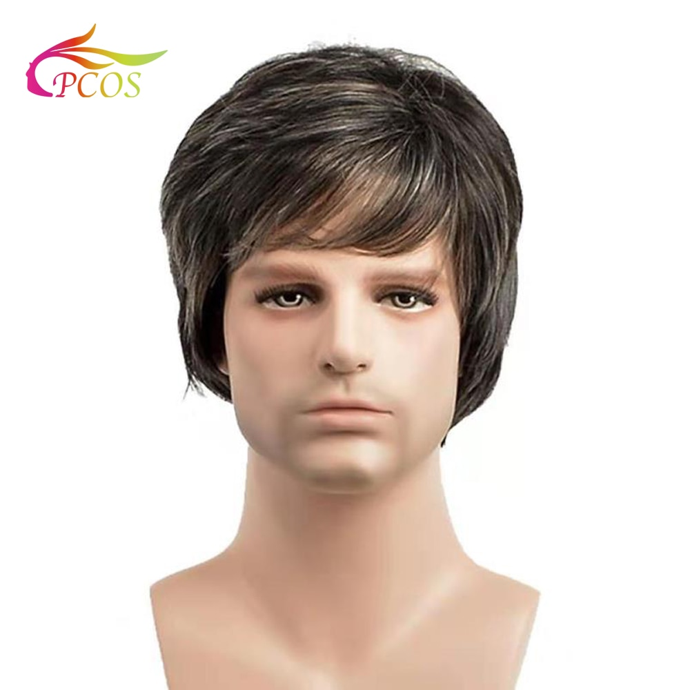 Short Men Wig Straight Synthetic Wig for Male Hair Fleeciness Realistic Pale grey Toupee Wigs