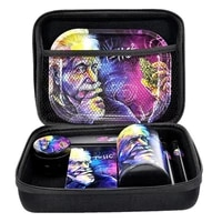 smoking set metal rolling tray plastic herb tank cigarette machine container zinc alloy weed grinder with toolkit tobacco kit