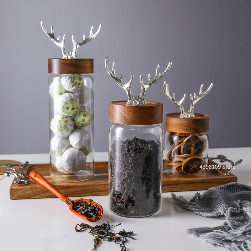 Glass Bottle Nordic Lead-free Glass Storage Jar Household Food Storage Bottle Acacia Wood Cover Sealed Jar / Sugar Jar / Tea Box