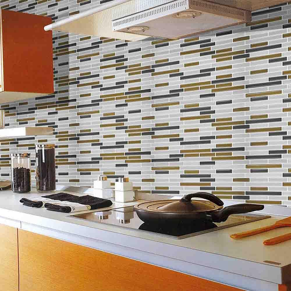 Kitchen Bathroom 3D Waterproof Self Adhesive Clever Tiles Glitter Mosaic Wall Decal Cabinet Sticker Peel Backsplash Vinyl Tiles