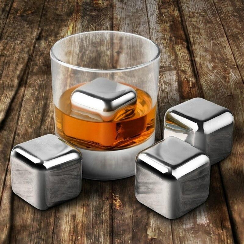 ¡Promoción! 8 piezas de acero inoxidable 304 whisky vino piedras Reuseble enfriador de cubos de hielo Bola con hielo clip