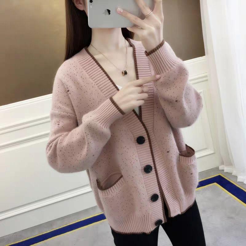 Mujer 2020 primavera moda Otoño cárdigan ropa suéter femenino Casual suelto tejido abrigo cuello pico manga larga camisa Tops L374