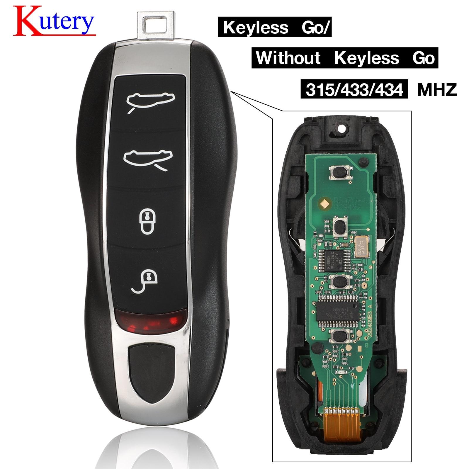 Kutery 4 Buttons Smart Remote Key 315MHz 433/434 MHZ for Porsche Panamera Macan Cayman 911 918 Spyder Cayenne