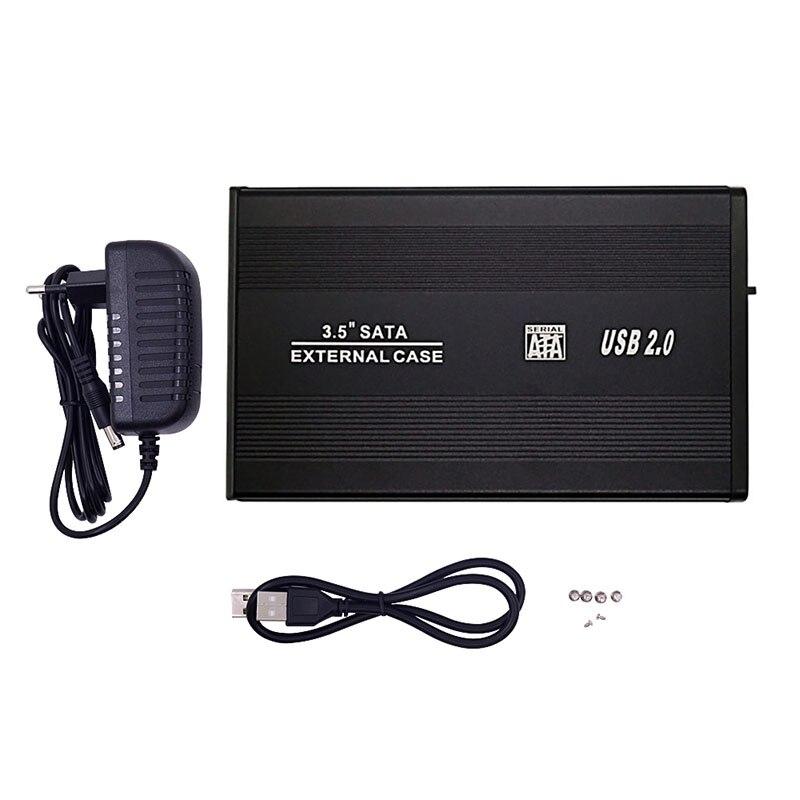 """Caja de Funda de disco duro Nworld de 3,5 """", USB 2,0 SATA 3,0, caja de almacenamiento externa de 480Mbps para carcasa de disco duro de 3,5 pulgadas, caja de HDD, enchufe europeo"""