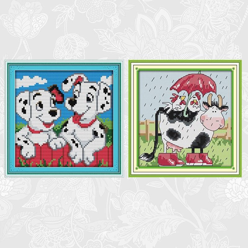 Alegria domingo dois pontos cão 14ct impresso tela 11ct branco kits de ponto cruz vaca e frango bordado conjuntos