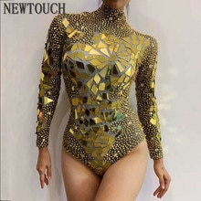 Or strass miroirs célébrer anniversaire tenue body femme DS Bar chanteuse danseuse brillante Performance Sexy Stretch tenue