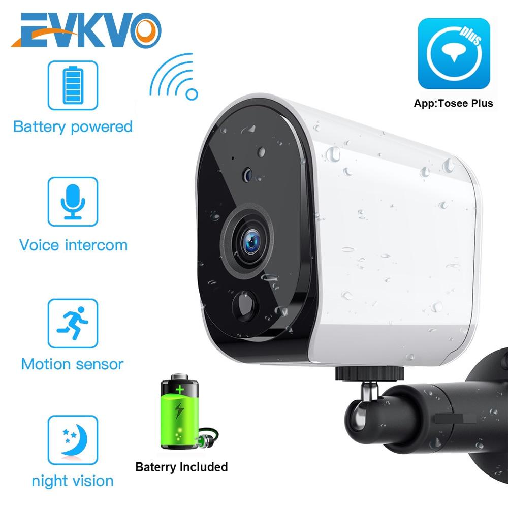 Câmera de vigilância residencial, 1080p wi-fi alimentado por bateria 2mp hd externa sem fio ip residencial alarme gravar áudio