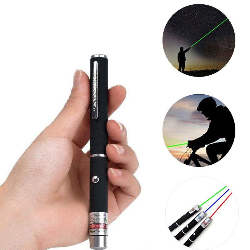 Лазерная указка 5 мВт, зеленая, синяя, красная точка, мощный лазерный светильник, измеритель с питанием от батареи, 530 нм, 405 нм, 650 нм, индикатор...