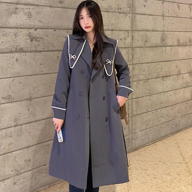 Overcoat Women  Small Design Sense Coat Autumn And Winter Korean Version New Waist Closing Fashion M