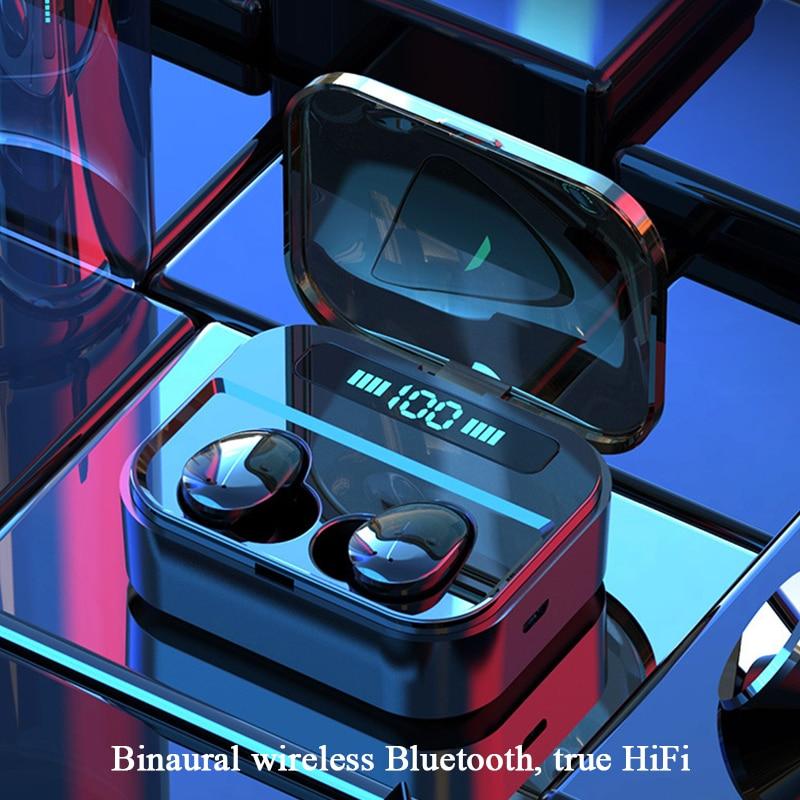 TWS سماعة لاسلكية تعمل بالبلوتوث 5.0 سماعات أذن تعمل باللمس 8D ستيريو أطراف سماعات الأذن LED شاشة ديجيتال