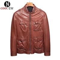 high quality men italian leather jacket sheepskin casual motorcycle biker coat male streetwear black outerwear plus size 4xl