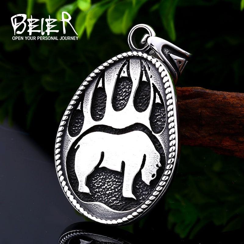 BEIER 316L, oso vikingo de acero inoxidable, colgante clásico para hombre, garra de oso animal, joyería de calidad LLBP8-102P