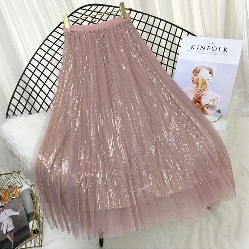 sequined high low hem fish tail skirt Spring Summer Skirts Women Korea Long Tulle Skirt Sequined Pleated a Line Midi Skirt Chic High Waist Skirt Female