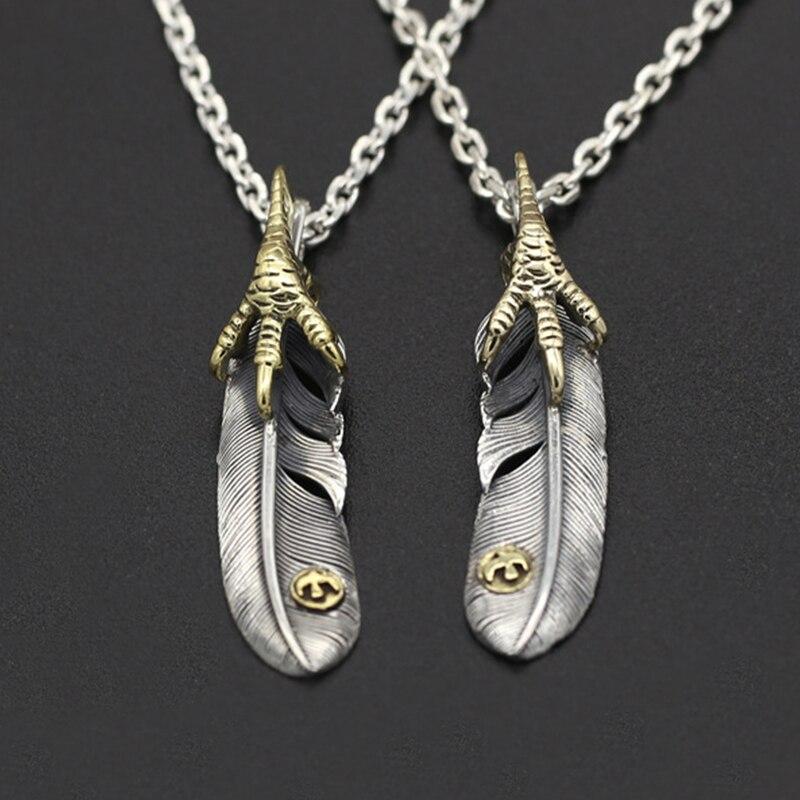 925 joyas de plata esterlina Retro personalidad mano garra pluma de águila colgante para hombre y mujeres