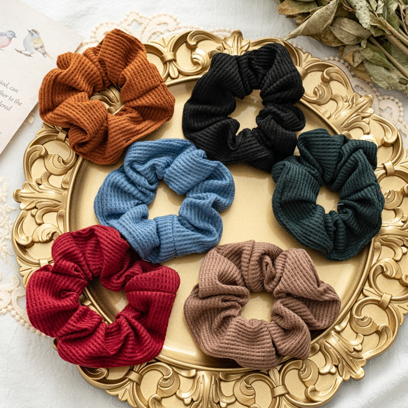 High Elastic Hair Rope Knitting Fabric Scrunchies For Women Girls Solid Color Simple Hair Ties Holder Knitted Hair accessories