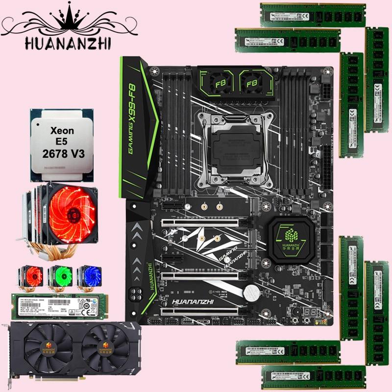 HUANANZHI X99-F8 motherboard with 512G SSD CPU Intel Xeon 2678 V3 with cooler RAM 64G(8*8G) REG ECC GTX1660 6G GDDR6 video card