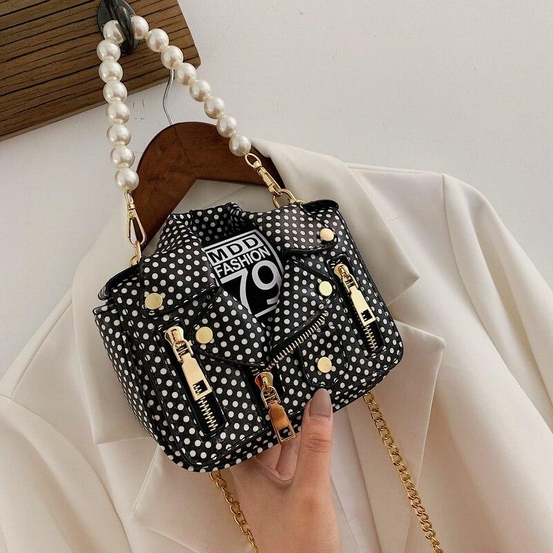 HOT SALE Women Bag Chain Shoulder Bags 2021 Rivet Bag  Locomotor Style PU Women's Handbags Pearl Decoration Messenger Bag 648