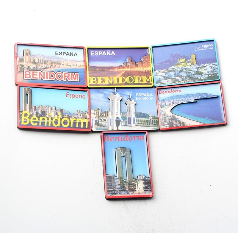 Benidorm – aimant artisanal en bois pour réfrigérateur, autocollants souvenirs touristiques, décoration de maison magnétique, jouets figurines