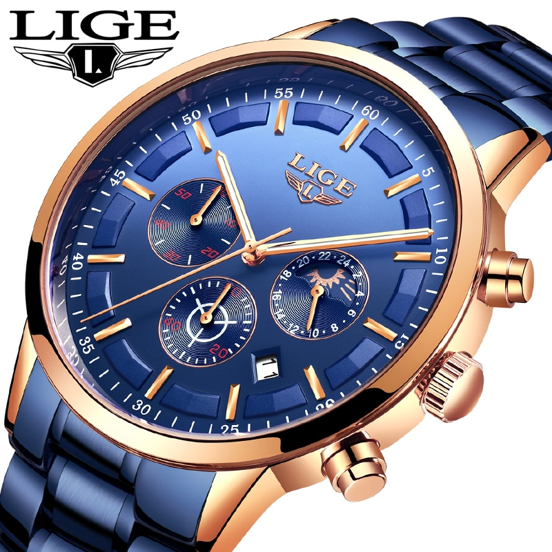LIGE Fashion Business Men's Watch Top Brand Luxury Full Steel Waterproof Quartz Watch Men Date Moon Phase Sport Chronograph+Box