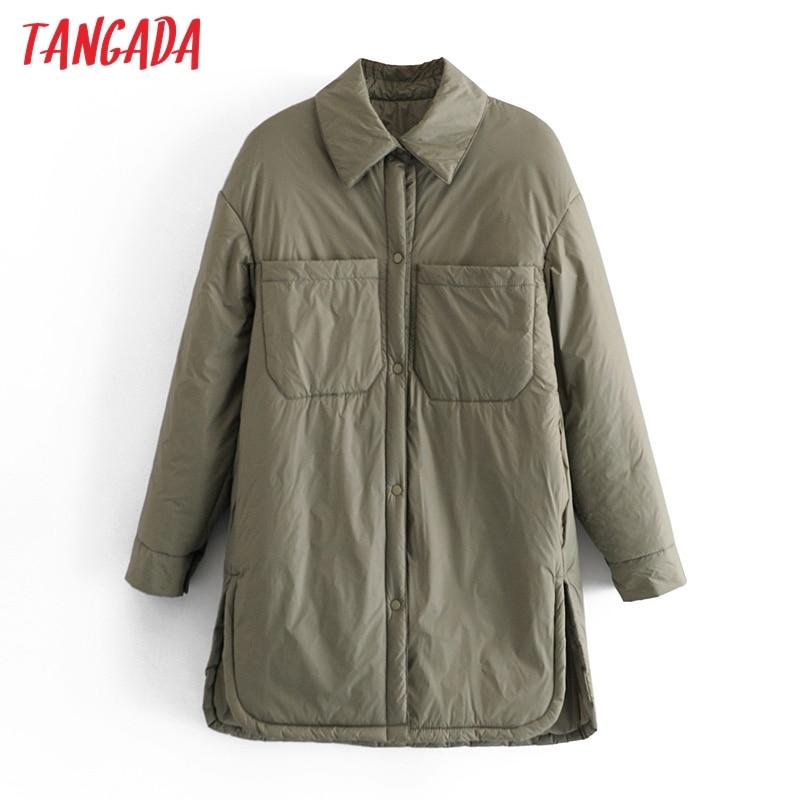 Tangada 2021 Women Thin Long Parkas Coats Loose Buttons Long Sleeves Pocket Ladies Elegant Coat QN20