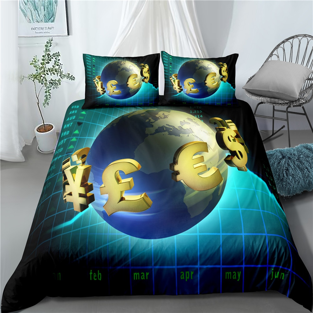 3D printed bedding quilt pillowcase luxury quilt bedding single quilt cover set global financial printing quilt cover