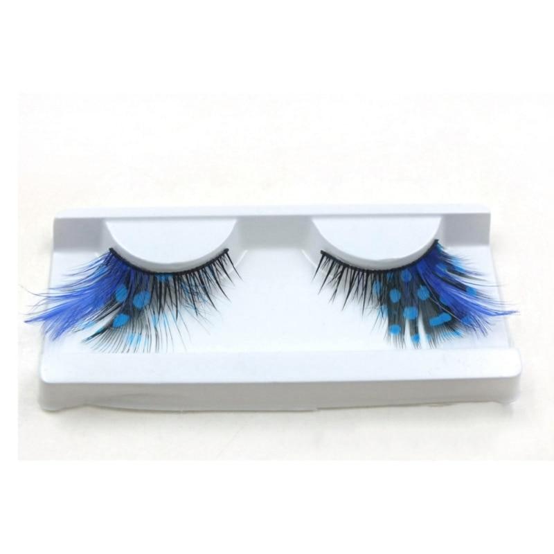 1 Pair Eyelashes Sexy Blue Point Peacock Prints Volume Feather Eyelashes Extension False Eye Lashes Halloween Makeup Blue Color