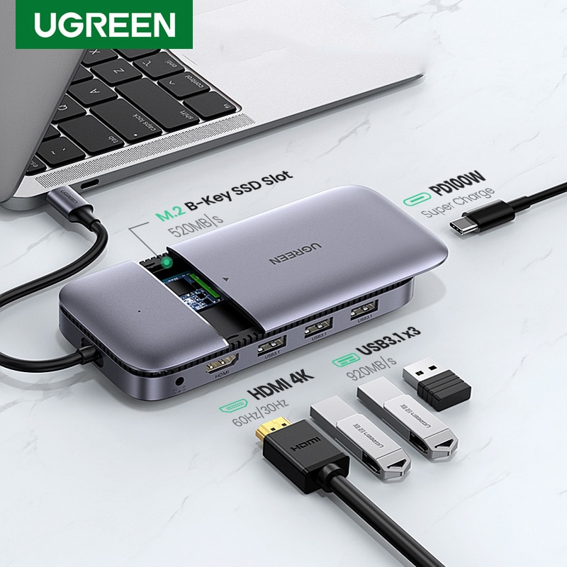 Ugreen-موصل USB من النوع C 3.1 إلى M.2 B-Key ، متوافق مع HDMI 4K 60Hz 10Gbps M.2 SSD ، حافظة USB C HUB لجهاز MacBook Pro Air iPad