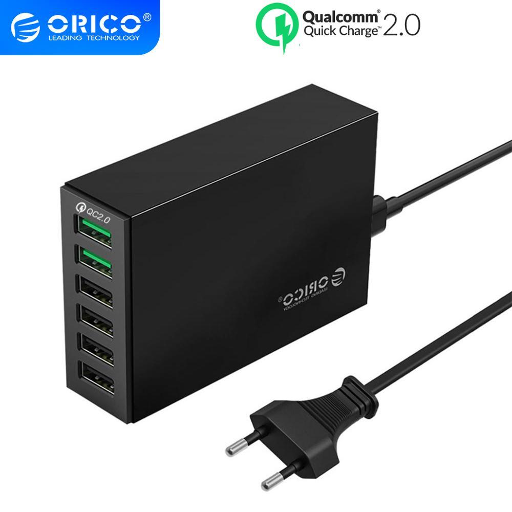 Cargador rápido ORICO QC 2,0 con 6 puertos de carga USB cargador de escritorio inteligente 5V10A 50W salida máxima para cargador USB de teléfono móvil