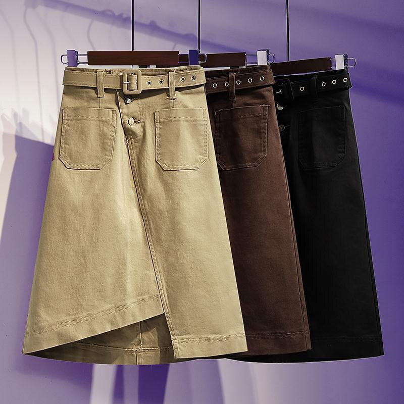 Primavera otoño moda mujer alta cintura asimétrica falda dos bolsillos algodón Denim Casual rodilla-longitud falda de talla grande S906