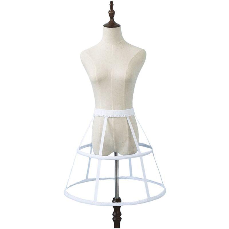 Boda miriñaque de novia Underskirt mujeres niñas cintura elástica ajustable Pannier enagua 2 Hoop falda de jaula E15E