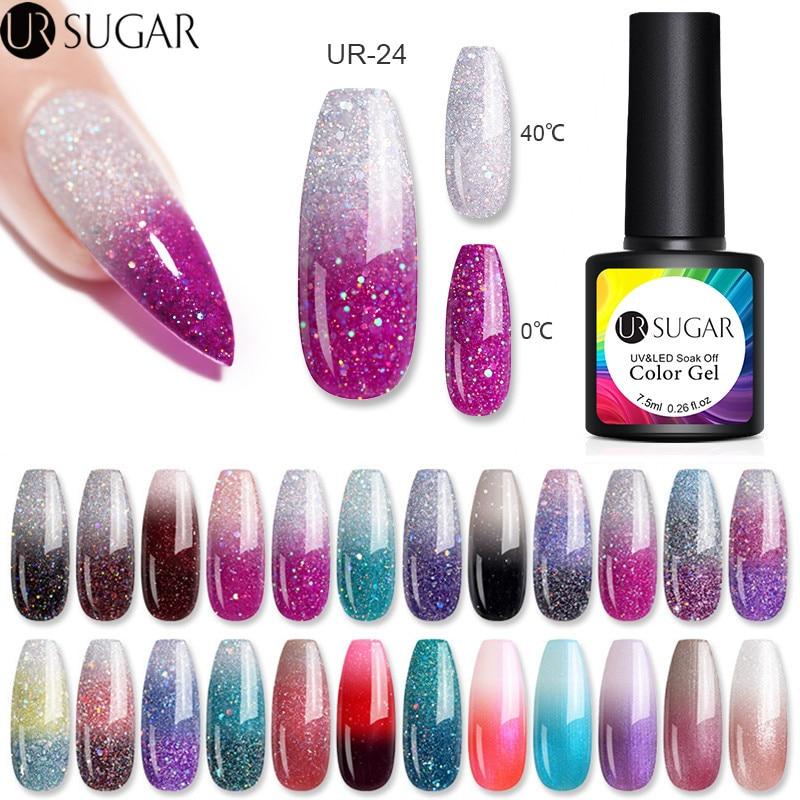aliexpress.com - UR SUGAR 7.5ml Thermal Glitter Gel Soak Off UV Gel Polish Temperature Color-changing UV Gel Varnish Nail Art varnish
