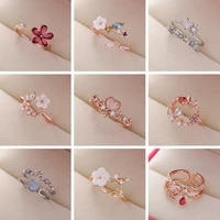 iwait 2021 new popular flash diamond crystal flower rings fashion temperament sweet wild love open rings for women jewelry