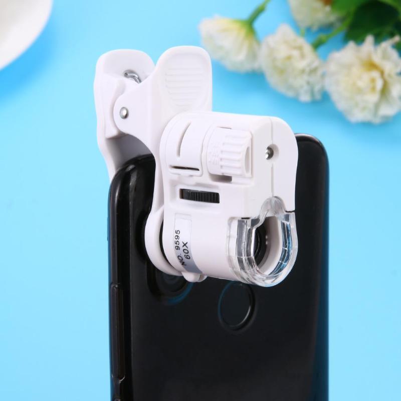 Universal 60x telefone microscópio zoom micro câmera clipe lente com led luz microscópio lupa led ferramentas