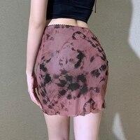 fashion mini cute straight skirts spring summer elegant skirt sexy high arm short for women tie waist hip package dye skirt a4d6