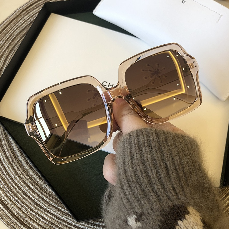 Sunglasses Women Vintage Oversize Square Luxury Brand Big Frame Women Sun Glasses Black Fashion Grad
