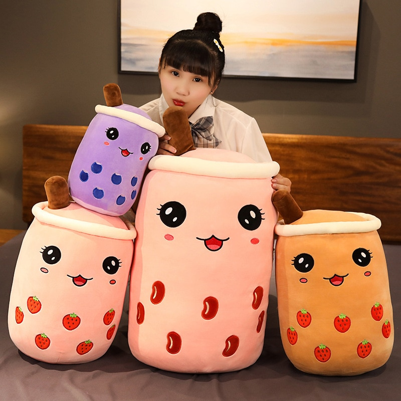 cute soft cartoon bubble tea cup plush toys filled with fashionable drinks pillow straw cute cushion milk tea cup pillow plush real-life bubble tea cup plush toy pillow stuffed food milk tea soft doll milk tea cup pillow cushion kids toys birthday gift