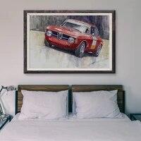 Peinture classique voiture de course retro rouge 27  affiche en soie personnalisee  decoration murale  cadeau de noel  T031