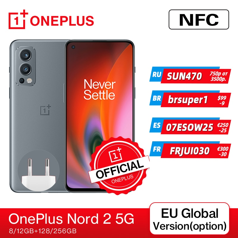 Global Version OnePlus Nord 2 5G Smartphone Dimensity 1200-AI 8GB 128GB 50MP AI Camera Warp Charge 6